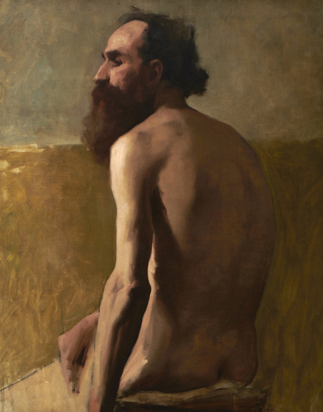 Artist Albert de Belleroche: Half length Profile Study of a Bearded Man, mid 1880s