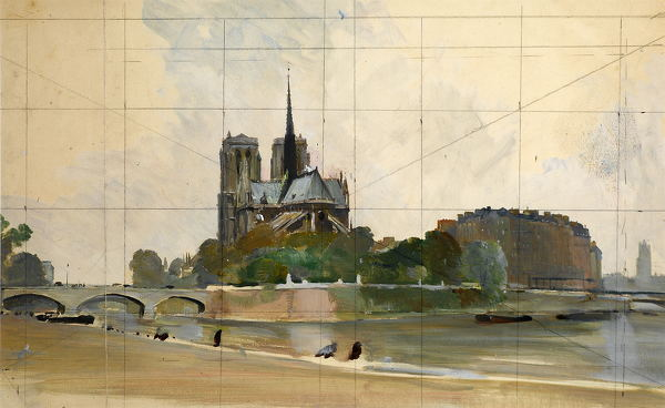 Artist Charles Cundall: Notre Dame and Pont de LArcheveche