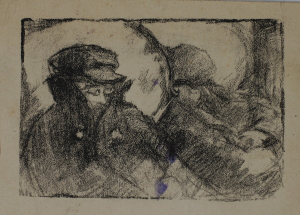Artist Albert de Belleroche: Men sleeping in a carriage