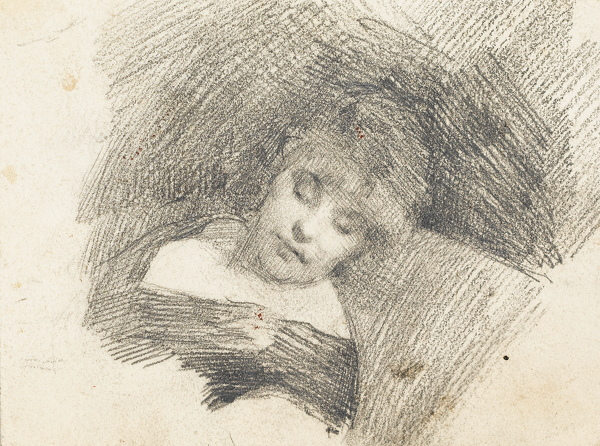 Artist Albert de Belleroche: Sleeping woman head and shoulders