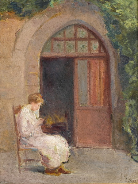 Girl seated outside of La Boissiere - circa 1909 -