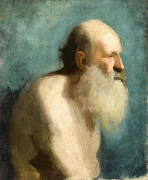 Profile study of an old man, head and shoulders, early 1880's -