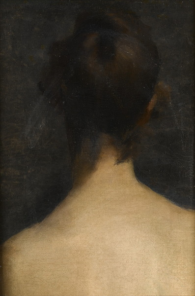 Rear view, head and shoulders, of young woman, circa 1885 -