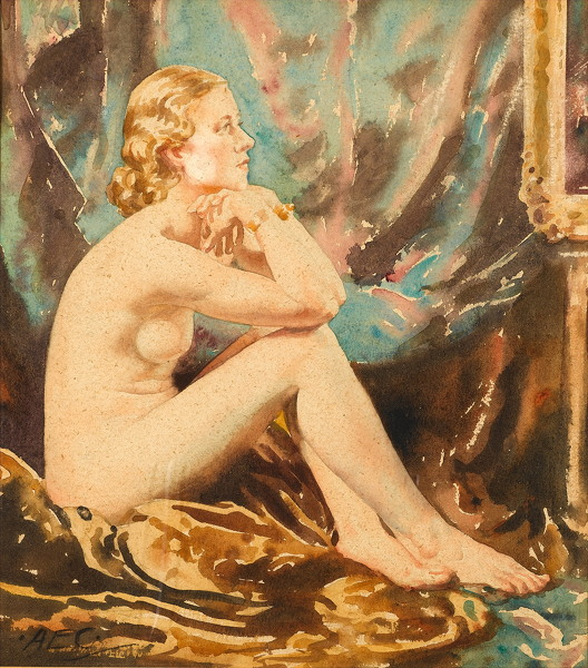 Artist Alfred Egerton Cooper: Seated Nude, circa 1930