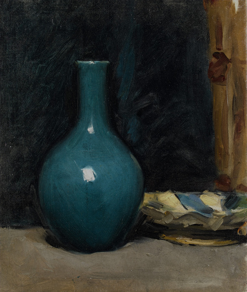 Still life with blue pot and folded cloth, late 1880's -