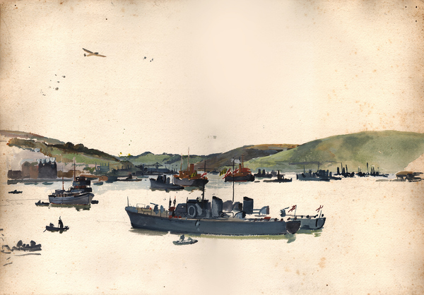 Artist Charles Cundall: Study for Motor Launches, Dartmouth , c.1942