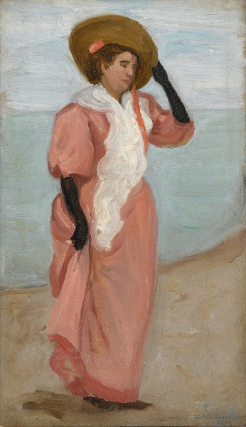 Artist Arthur Studd (1863 - 1919): A Lady by the Sea, (A Sudden Gust of Wind), circa 1895