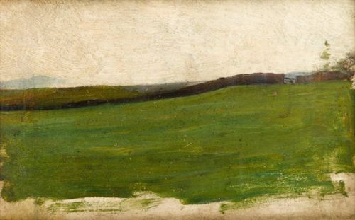 Landscape with green meadow  and gated wall- circa 1900 -