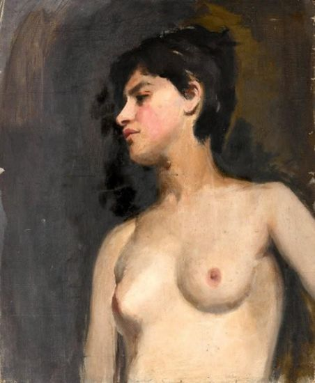 Bust lenght female nude, 3/4 view, black background - circa 1880 -