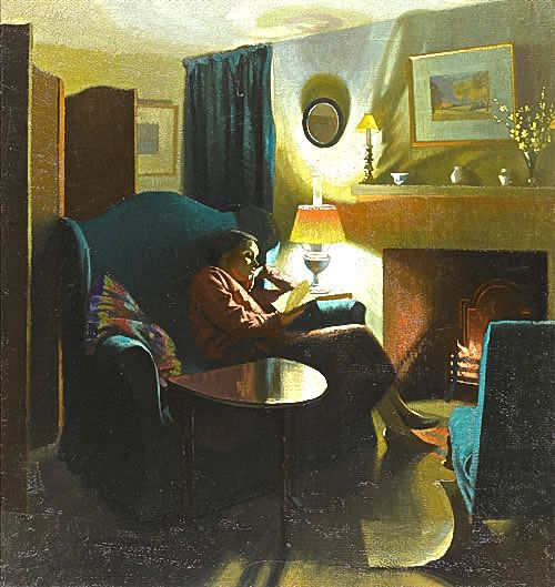 Artist Gerald Gardiner: The artist's wife, Evelyn, seated reading, mid-1930s