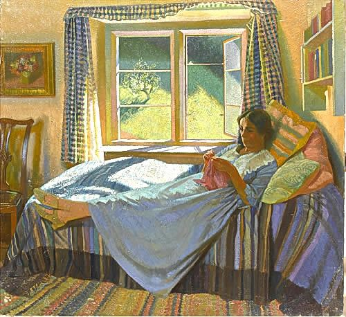 Artist Gerald Gardiner: The artist's wife, Evelyn, knitting on a daybed, 1934