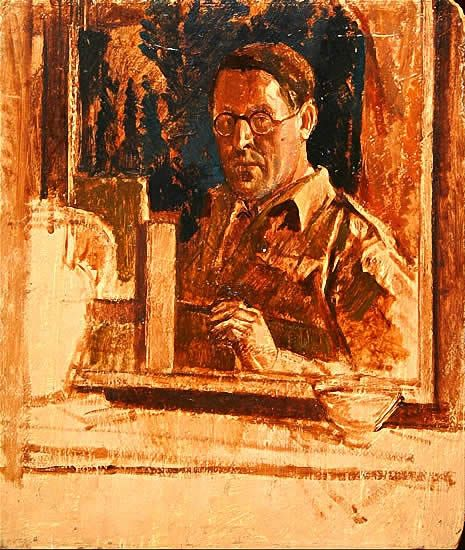 Artist Percy Horton: Self Portrait at easle - circa 1940