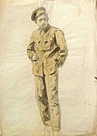 Artist Percy Horton: Portrait of a Private, 1916