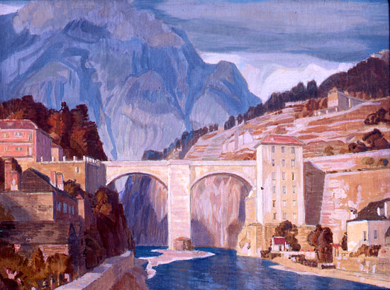 Artist Charles March Gere: The Italian Enterance to the Simplon Pass, 1937