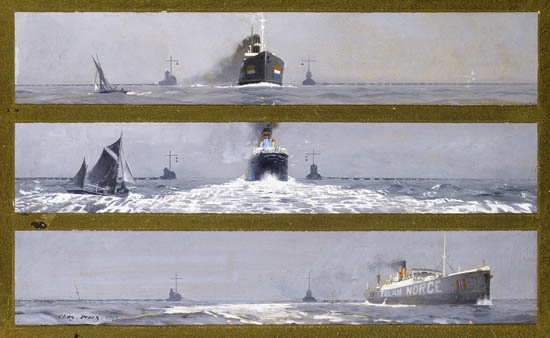 Artist Charles Pears: Freighters passing through an anti-submarine boom, 1915
