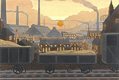 Artist John Edgar Platt: Sunset in the Black Country, late 1920s