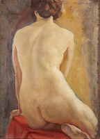 Artist Margaret Maitland Howard: Female Nude, Seated, circa 1920