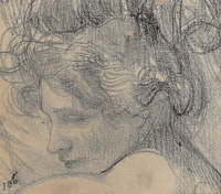 Artist Albert de Belleroche: Head of a woman - three quarter profile, late 1890s