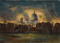 Artist Charles Cundall: St Paul's and London from the Thames, during the Blitz, 1943