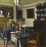 Artist Albert de Belleroche: The dining room of John Singer Sargent, circa 1884