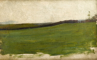 Artist Albert de Belleroche: Landscape with green meadow and gated wall- circa 1900