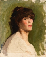 Artist Albert de Belleroche: Bust lenght portrait of a woman, 3/4 view, green background - circa 1885