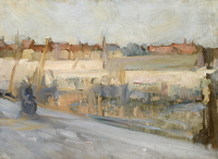 Artist Albert de Belleroche: View across a harbour, possibly Boulogne Sur Mer, 1890