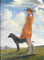 Artist Walter Bonner Gash: The artist's daughter walking the vicar's dog