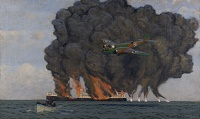 Artist Charles Pears: Dutch Bomber sets fire to German oil tanker, circa 1940