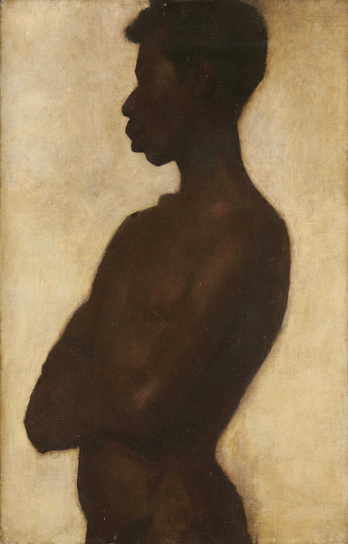 Artist Albert de Belleroche: Half-length Portrait of a Nude Black Man, 1890s