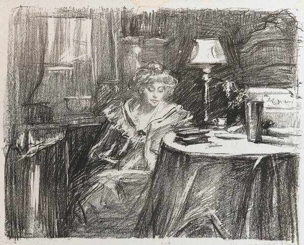 Artist Albert de Belleroche: Alice Millbank at Ferby Lodge, 1908
