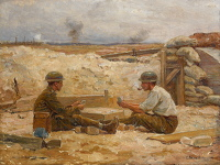 Artist Jean-Jacques Berne-Bellecour: Two British Officers playing cards outside their dugout, Secteur de Bapaume, 1918–20