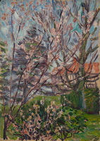 Artist Arthur Studd: Foreground view of branches with blossom, house to rear