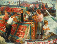 Artist Cosmo Clark: Canal Families, Brentford, circa 1949