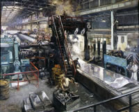 Artist Terence Cuneo: Rolling Mill, 1944