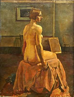 Artist Percy Horton: Seated 3/4 rear, picture on wall - circa 1925